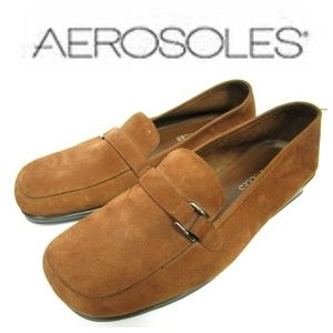 Aerosoles Brown Suede Loafers Flats Buckle Sz 7.5W